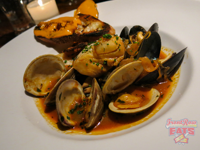 Bouillabaisse, littlenecks, mussels, scallops, polluck, grilled baguette, rouille