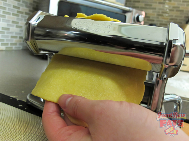 Roll dough gently through pasta maler.