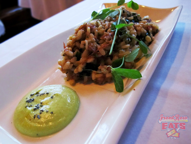 Pulled Lamb Shoulder Risotto with Grilled Ramps, Sweet Pea Mousse and Mint Julep Glaze