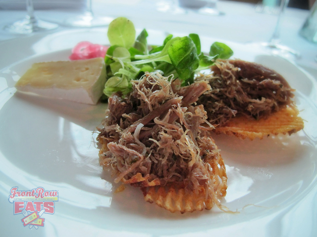 Duck Confit Rillettes with Pickled Onions, Arethusa Farm Camembert, and Mâche Served with WILLIAM HILL ESTATE WINERY CENTRAL COAST CHARDONNAY 2011