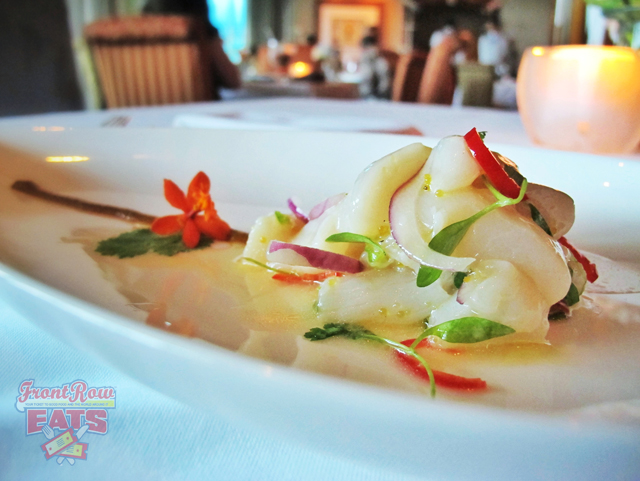 Bombster Scallop Crudo with Extra Virgin Olive Oil, Kabuso, and Ají Amarillo Served with MARTÍN CÓDAX ALBARIÑO 2011