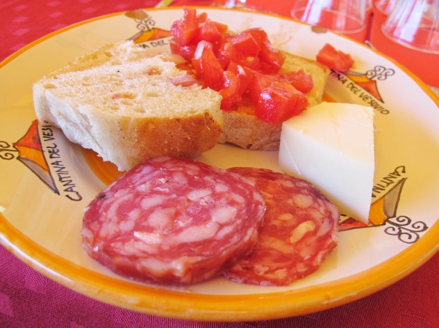 Cured Meats and Cheese for lunch at a Vineyard at the base of Mt. Vesuvius
