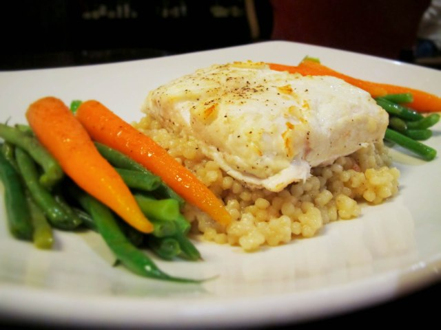 Halibut served with Haricot Vert, Baby Carrots, Couscous and a side of Mango Pineapple Salsa ($32)