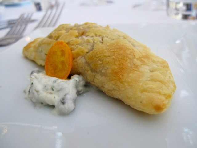 "Smoked Lamb Mezzulana with Taleggio, Mint, Flaky Pastry...or as the Rialto team like to call them, ""Moist Mutton Morsels"" or ""Saucy Lamb Satchels"""