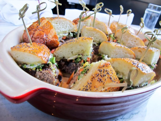 These sliders were to die for at Tavern Road. Lamb shank burger with lardo, anchovies, red curry, pickled vegetables and a poppy seed bun.