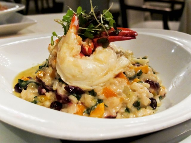 Point Judith Lobster with arborio rice, cranberry, butternut squash, Swiss chard, maple-sage jus